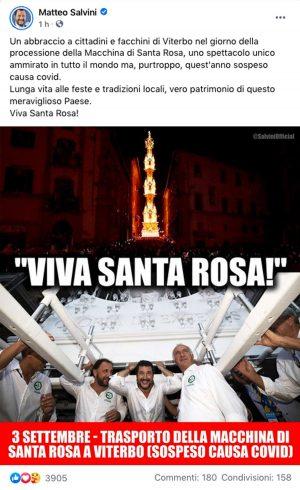 Il post di Salvini (Lega) sulla macchina di Santa Rosa