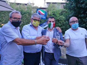 Civita Castellana - Luca Giampieri sindaco - Brindisi con Massimo Giampieri, Umberto Fusco e Mauro Rotelli