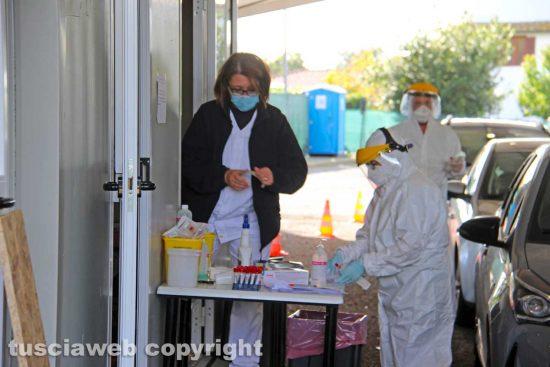 Coronavirus - Viterbo - Il Drive in test point al Riello