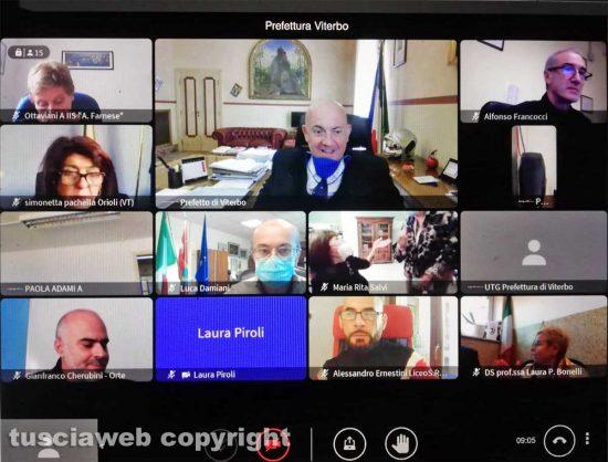 Viterbo - La riunione on line tra il prefetto e i dirigenti scolastici della Tuscia