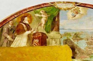 Viterbo - Affresco sulla Battaglia di Lepanto al chiostro della Quercia