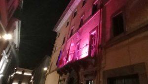 Viterbo - Palazzo Gentili si tinge di rosa