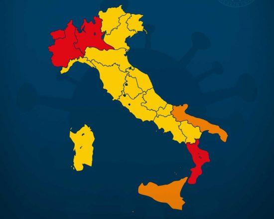 Dpcm del 3 novembre 2020 - La suddivisione in zone gialle, arancioni e rosse in base al rischio di contagio