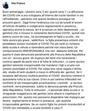 Coronavirus - Nepi - Viola la quarantena e accompagna la figlia a scuola - Il post del sindaco Franco Vita