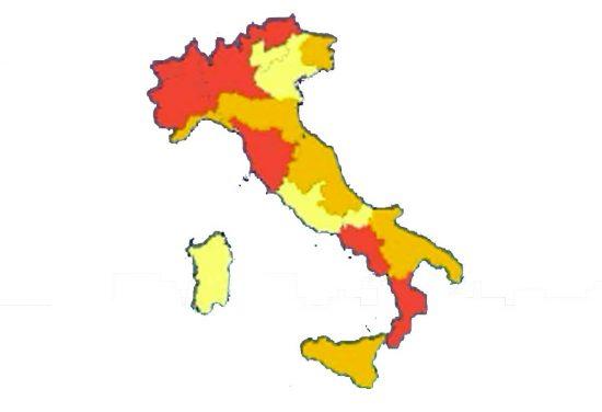 Campania e Toscana zone rosse