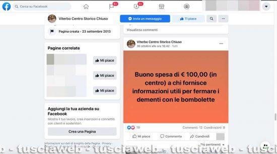 Viterbo - La taglia da 100 euro in buoni spesa