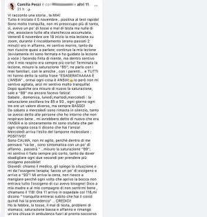 Il post di Camilla Pesci
