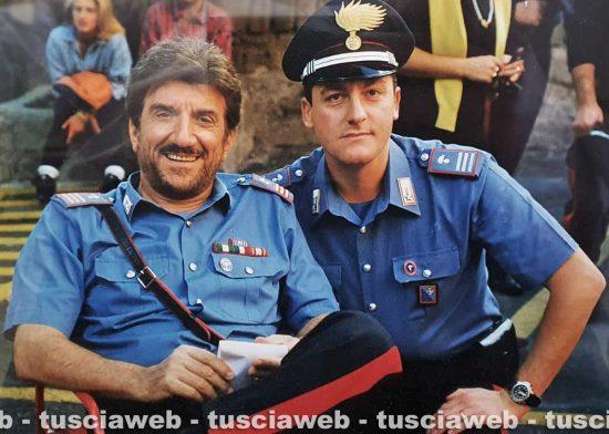 Viterbo - Gigi Proietti e Maurizio Iannaccone sul set del Maresciallo Rocca