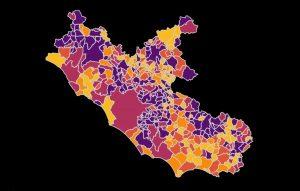 Coronavirus - Mappa del tasso di incidenza dei casi ogni 10mila abitanti
