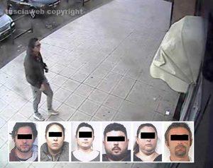 Operazione Family - Le immagini delle telecamere - Nei riquadri: Gli arrestati