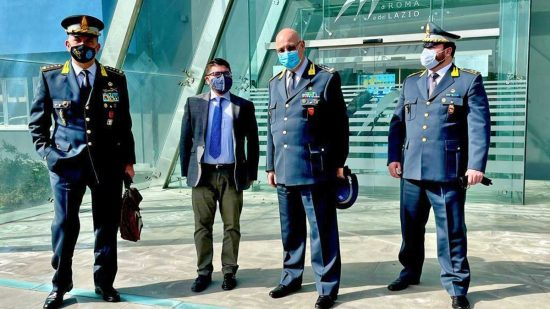 Civitavecchia - Il colonnello Franza, il presidente Musolino, il generale Lorusso e il maggiore Capone