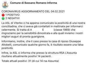Bassano Romano - Situazione Covid nella casa di riposo Altobelli - Il post del 4 febbraio