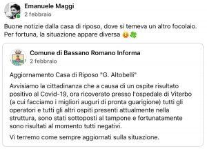 Bassano Romano - Situazione Covid nella casa di riposo Altobelli - I post del 2 febbraio