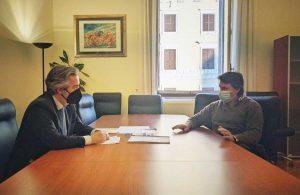 Francesco Battistoni in un incontro con l' Azienda Grecchi
