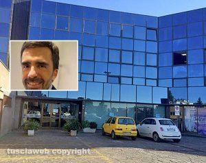 Gli uffici della Talete e nel riquadro Salvatore Genova