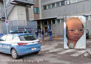 Viterbo - Polizia all'ospedale di Belcolle - Nel riquadro: Lorenzo Milioni