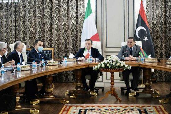 Mario Draghi, Abdel Hamid Mohamed Dabaiba e Luigi di Maio
