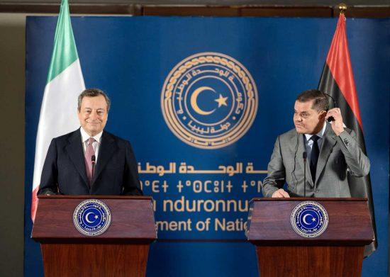 Mario Draghi e Abdel Hamid Mohamed Dabaiba